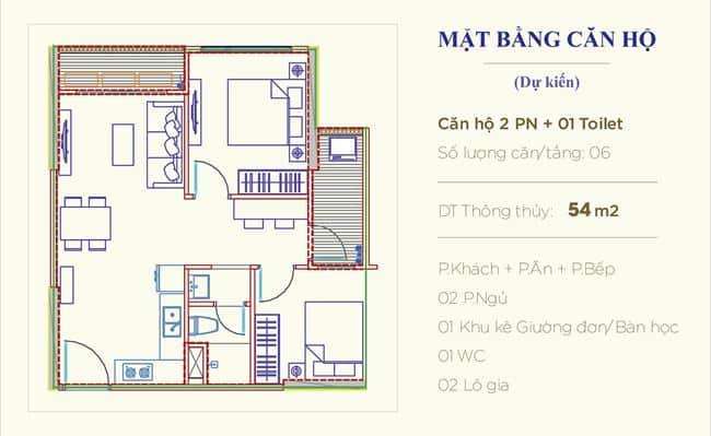 Căn hộ 2 phòng ngủ 54m2