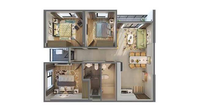 Không gian rộng rãi căn hộ 3 phòng ngủ Vinhomes Ocean Park