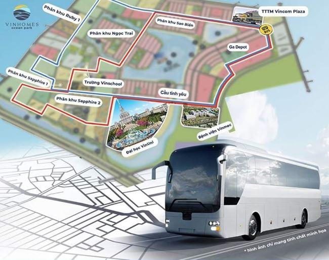 Lịch trình di chuyển nội khu của xe bus điện Vinbus
