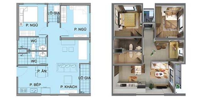 Thiết kế căn hộ 2 phòng ngủ Vinhomes Ocean Park